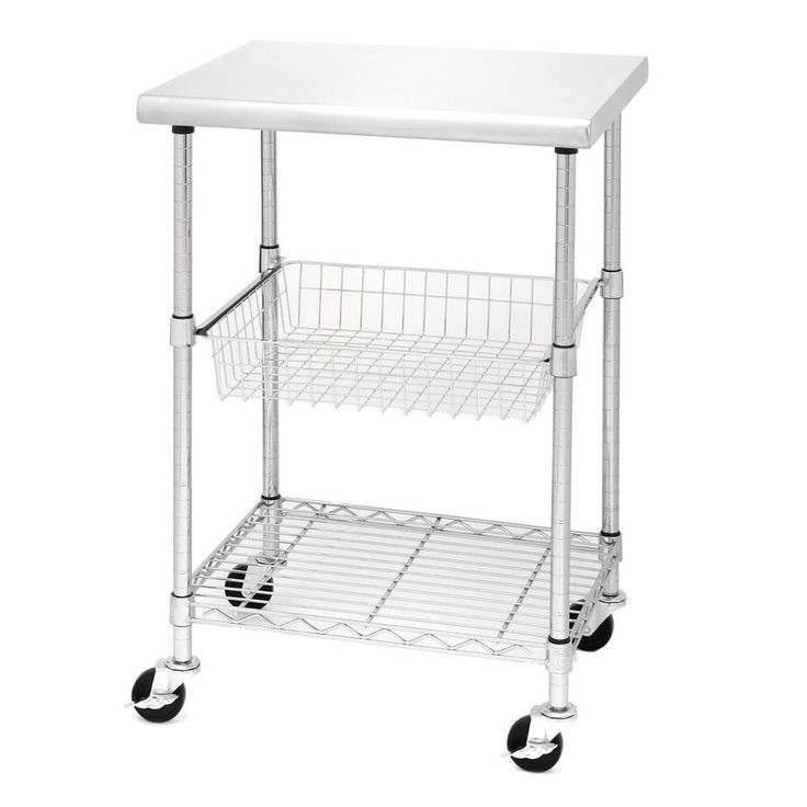 Rolling Kitchen Cart Worktable Stainless Steel Table Cutting Storage Shelves NEW #SevilleClassics #Modern
