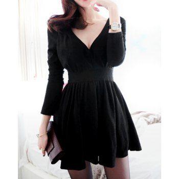 Solid Color Grace V-Neck Long Sleeve Women's Dress (BLACK,M) in Bodycon Dresses | DressLily.com