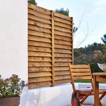 Kit panneau persienné en bois naturel, L.80 x H.180 cm x Ep.33.3 mm   Leroy Merlin