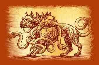Figlio di Echidna e Tifone, Cerbero è sicuramente una delle figure mitologiche tra le più cerberorappresentative della letteratura classica. Ritenuto guardiano e custode dell'inferno ha l'aspetto di un enorme cane munito di 50 o 100 teste. Nella maggior parte delle rappresentazioni però è raffigurato con tre teste, la coda di drago e munito di una criniera formata da teste di serpente.