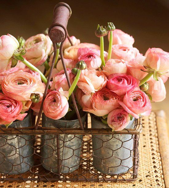 rose basket: Rose, Ideas, Pink Flowers, Flowers Arrangements, Chicken Wire, Wire Baskets, Centerpieces, Tins Cans, Peonies