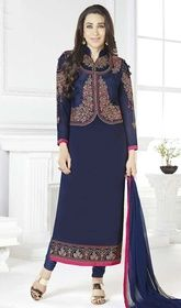 Karisma Kapoor Navy Blue Color Georgette Churidar #bollywoodsuitcollection #bollywoodactressesdressesonline Trigger the buzz of idolizing admiration adorned like Karisma Kapoor in this navy blue color georgette churidar. The lace and resham work appears chic and ideal for any celebration. USD $ 89 (Around £ 61 & Euro 68)
