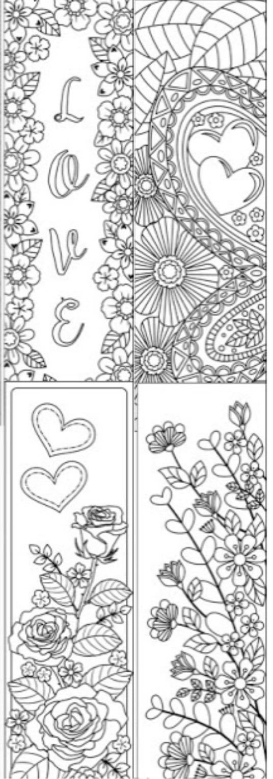 Religious bookmarks to color - 8 Printable Coloring Bookmarks With Hearts Coloring Digital Doodles