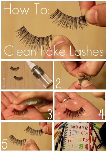 How to clean fake lashes...because wearing them over and over again with clumped up makeup is awful and scares little children.