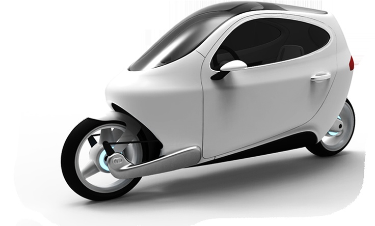 Lit Motors' C-1 electric motorcycle, which can stand up for itself, being gyroscopically stabilized. Even if you push it on the side, it doesn't fall.