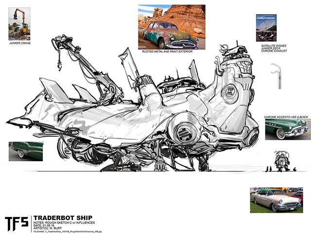 New Transformers: The Last Knight Concept Art: Daytrader's Junk Ship from Wes Burt