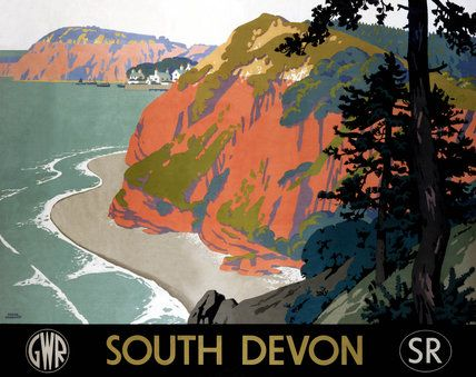 Vintage railway poster, South Devon Red cliffs.