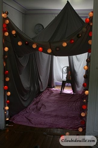 Ummmm. I would have died for this - MIa and I used to the build them when she came over - you could make a HUGE tent in your back room around the telly and let them watch movies...