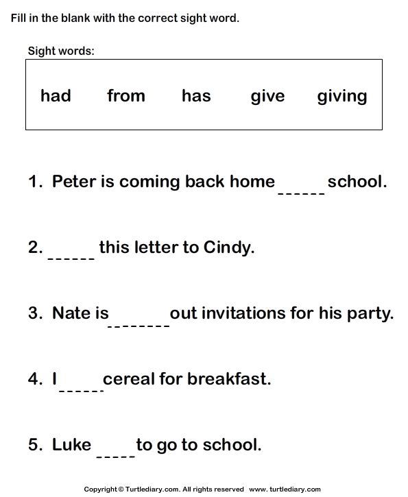 Fill In The Blanks Using Sight Words Turtlediary Com