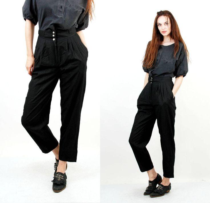 80s Black Pants / Pleated Pants / Taper Leg Pants / High Waist Pants / Classic Pants / Secretary Pants / Short Pants / by Ramaci on Etsy
