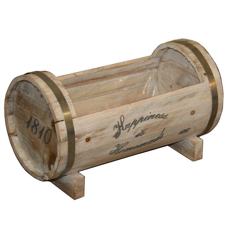 Original barril de madera para plantas y flores. Jardineras de madera para plantas, lotes de regalos, decoración de interior.