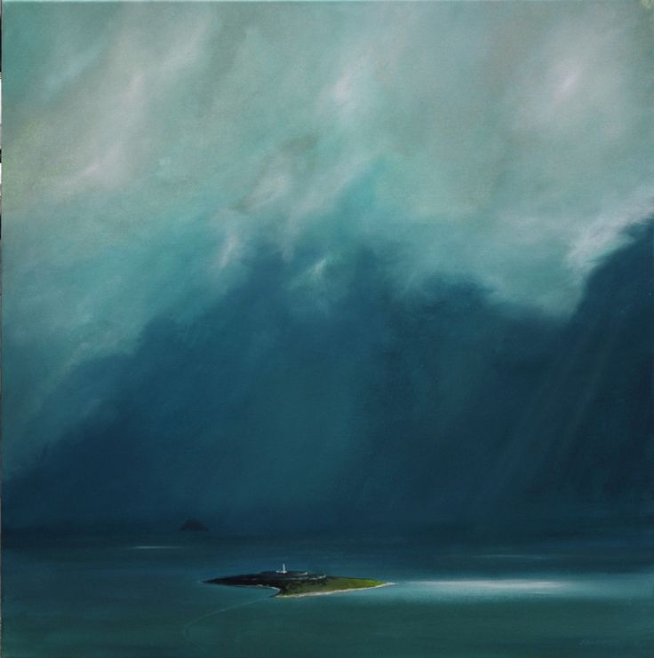Snow clouds over Pladda by Scottish contemporary landscape painter J Mackintosh