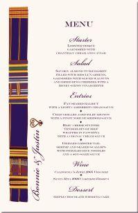 African American Wedding Menu Cards-African Cultural Symbols-African Themed Wedding Menu Cards-Heritage African American Wedding-African American Wedding Cultural Theme-Adinkra Symbols-Cowrie Shells-African Animal Illustrations