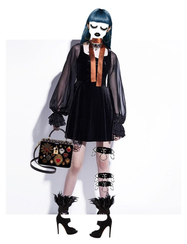 """""""Chain Night Crow Doll (Feed me more black)"""" by shucreamu on Polyvore featuring ファッション, Gucci, Dolce&Gabbana と Alaïa"""