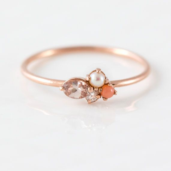 Blush Mini Cluster Ring in 14k Gold // by MelanieCaseyJewelry