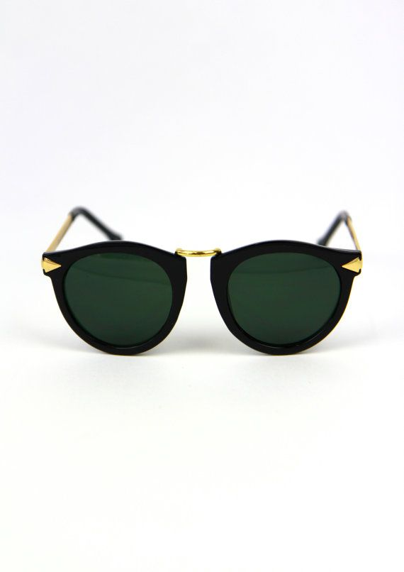 Gold Tipped Black Sunglasses