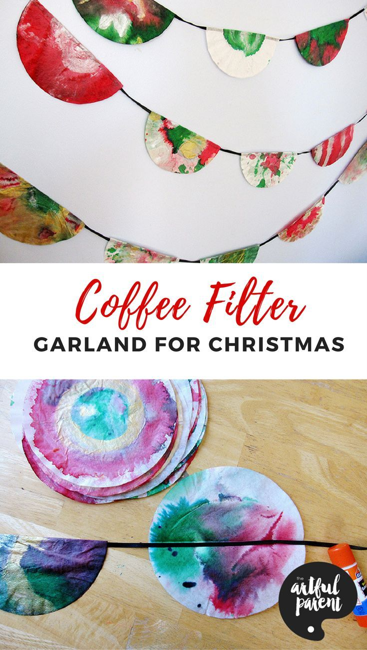 Make a coffee filter garland for Christmas (or any holiday) decorations with this easy tutorial. Simple for kids to make and beautiful to display!
