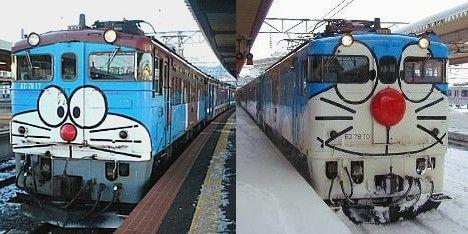 Doraemon train runs back & forth through the Seikan Tunnel, an undersea railway connecting Honshū & Hokkaidō, Japan. 本州と北海道を結ぶ青函トンネルを走るドラえもん。