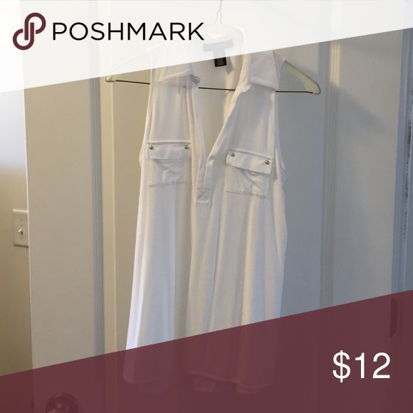 WHBM Sleeveless White Tee White House Black Market Sleeveless Shirt with Collar. Looks cute with shorts, jeans, or even a blazer. Feels like cotton but it made of rayon, lyocell, and spandex. White House Black Market Tops Tank Tops