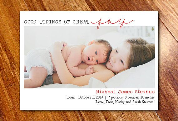 SALE -- Holiday Photo Card Birth Announcement, Christmas Birth Announcement // Good Tidings of Great Joy