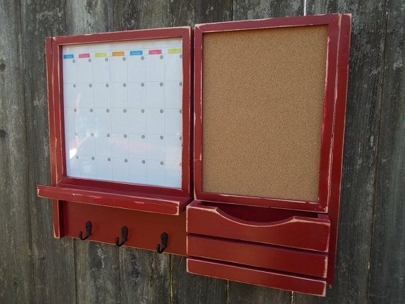 a framed magnetic dry erase calender and a framed cork board with and a shelf and - Framed Cork Board