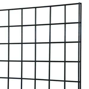 "Black grid panel 2x6 - BLACK GRID PANEL 2' x 6'<br>Top quality wire grid panel constructed of 1/4"" wire on 3"" format. Vertical sides reinforced with 1/4"" double wire for extra rigidity"