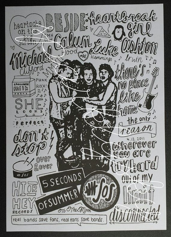 5SOS Collage 5 seconds of summer by DrawingsBySparklysky on Etsy, €4.10