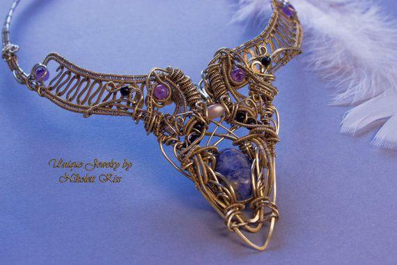 Handmade Unique Copper Wire Collar Necklace by NikolettKissJewelry
