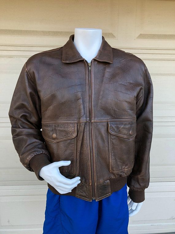 3f51b3805 Vintage Brown Leather Bomber Jacket Neil Martin Airborne Map Lined ...