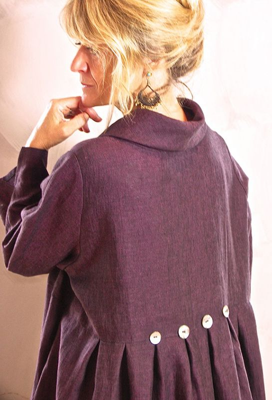 Back view of Winter Button Dress in winter weight linen, £285. Also available in dark brown and slate blue.
