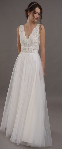 found at Happy bridal wedding dress elegant, elegant wedding dress, lilac, lace, lace dress, classy, ​​elegant, flowing, back neckline, h …