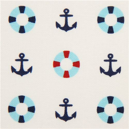 white maritime Kokka Canvas fabric anchor lifesaver