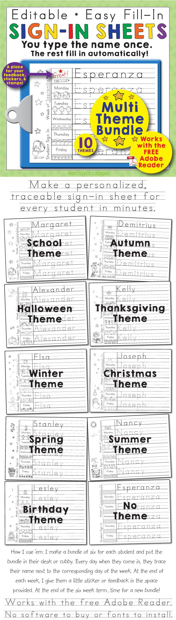 Just in time for back to school! Editable, personalized, themed sign-in sheets that will help your students learn to spell and write their names, memorize the days of the week, and count! The bundle has ten themed sign-in sheets. Traceable sign-in sheets for every season, occasion, student interest, or classroom decor in one convenient download! Autumn, Halloween, Thanksgiving, Winter,  Christmas, Spring, Summer, School, Birthday, Beach and more added weekly!~