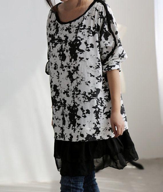 Spring shirt dress/ Cotton long t shirt/ Chiffon Side by MaLieb, $68.00