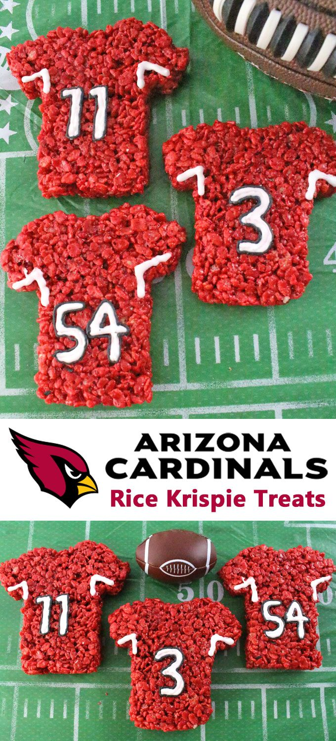 These Arizona Cardinals Rice Krispie Treats Team Jerseys are a fun football dessert for a game day football party, an NFL playoff party, a Super Bowl party or as a special snack for the Arizona Cardinals fans in your life. Go Cardinals! And follow us for more fun Super Bowl Food Ideas.