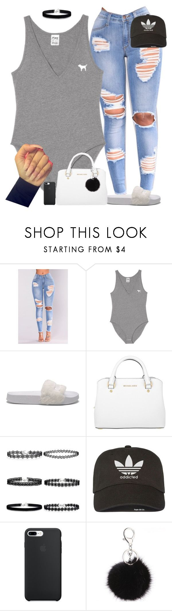 """Basic hoe‍♀️"" by princessaesthetic ❤ liked on Polyvore featuring NESSA, Puma, Michael Kors and adidas"