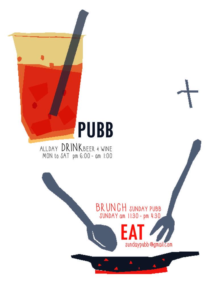 drink x eat!! pubb&sundaypubb brunch illust poster