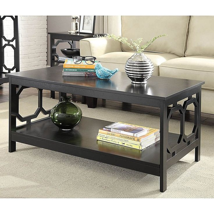 Living Room Modern Wood Coffee Table Furniture With Bottom Shelf New            #ConvenienceConcepts #Modern