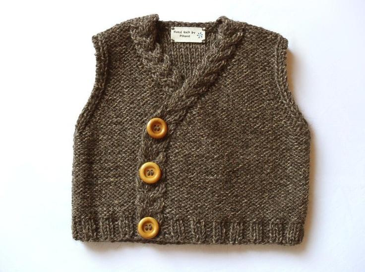 Baby Tweed Vest- Eco Friendly- pure merino extrafine and alpaca extrafine. via Etsy.