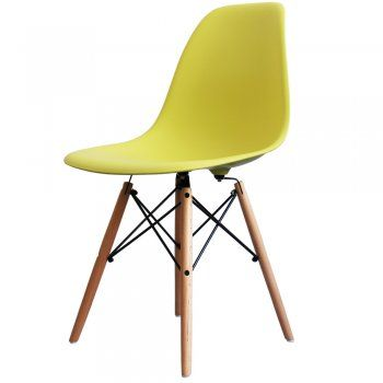 Buy Eames Style Lime Green Plastic Retro Side Chair from Fusion Living