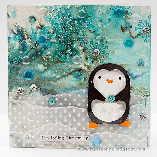 Layers of ink - Winter Penguin Card by Anna-Karin Evaldsson. Made for the Simon Says Stamp Monday Challenge blog with Paper Artsy Infusions and an SSS exclusive Hugging Penguin die.