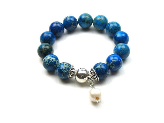 Blue Stretch Bracelet Natural Emperor Stone by elleandbellejewelry