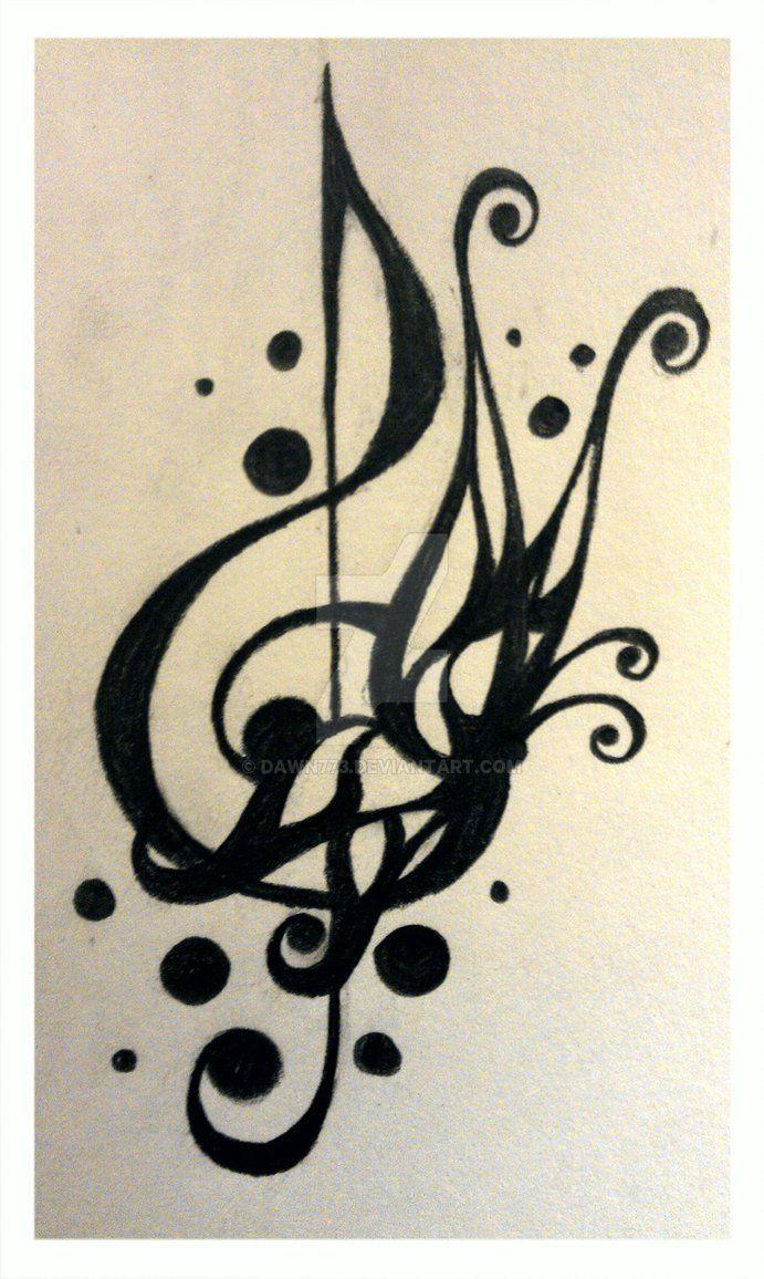 Tattoo Design - Treble Clef 2 by Dawn773 on @DeviantArt