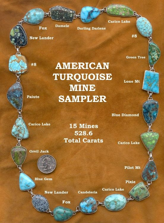 American Turquoise Mine Sampler : 15 Mines , 528,6 carats
