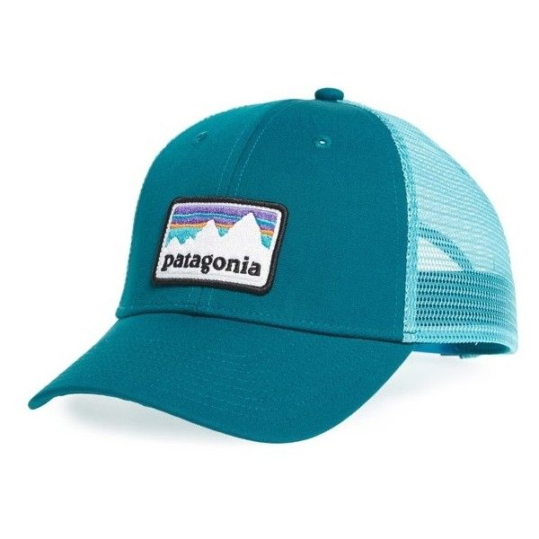 Men's Patagonia Shop Sticker Trucker Hat ($29) ❤ liked on Polyvore featuring men's fashion, men's accessories, men's hats, elwha blue, vintage mens accessories, mens trucker hats, mens vintage trucker hats, mens trucker caps and vintage mens hats