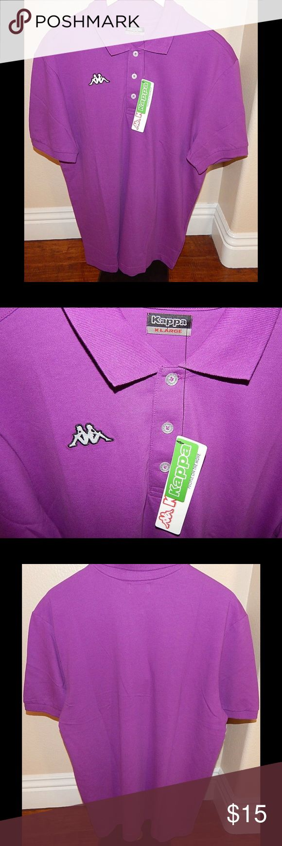 New Kappa Purple POLO SHIRT 2 OMINI KAPPA XL Kappa Purple POLO button up SHIRT 2 OMINI KAPPA New w Tags Sz XL Extra Large. Size Extra Large.  23 inches flat across chest. Kappa Shirts Polos