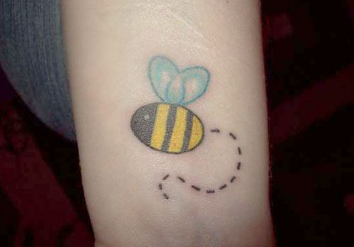 Bumble Bee Wrist Tattoo