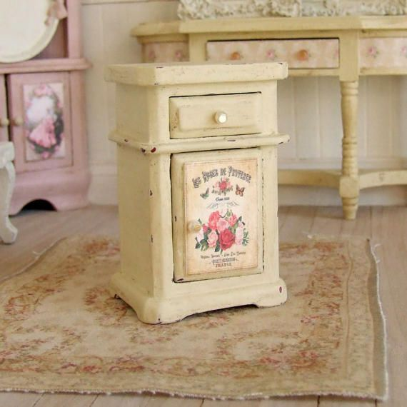 Dollhouse Miniature Cream Nightstand Bedroom Furniture Bedside Table Small Cabinet French