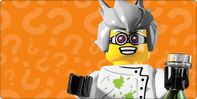 The Crazy Scientist is a minifigure that was released in 2011 as part of the 8804 Minifigures Series 4. The Crazy Scientist has messy gray hair, a white lab coat with a few lime green spills on it, and black legs with a white hip piece. He comes with a new part, which is a conical flask. It is clear with green mixed into the lower section.