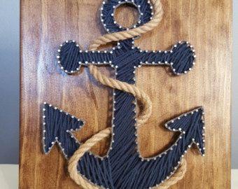 Nautical Anchor String Art with Rope FAST by Kristiestringart